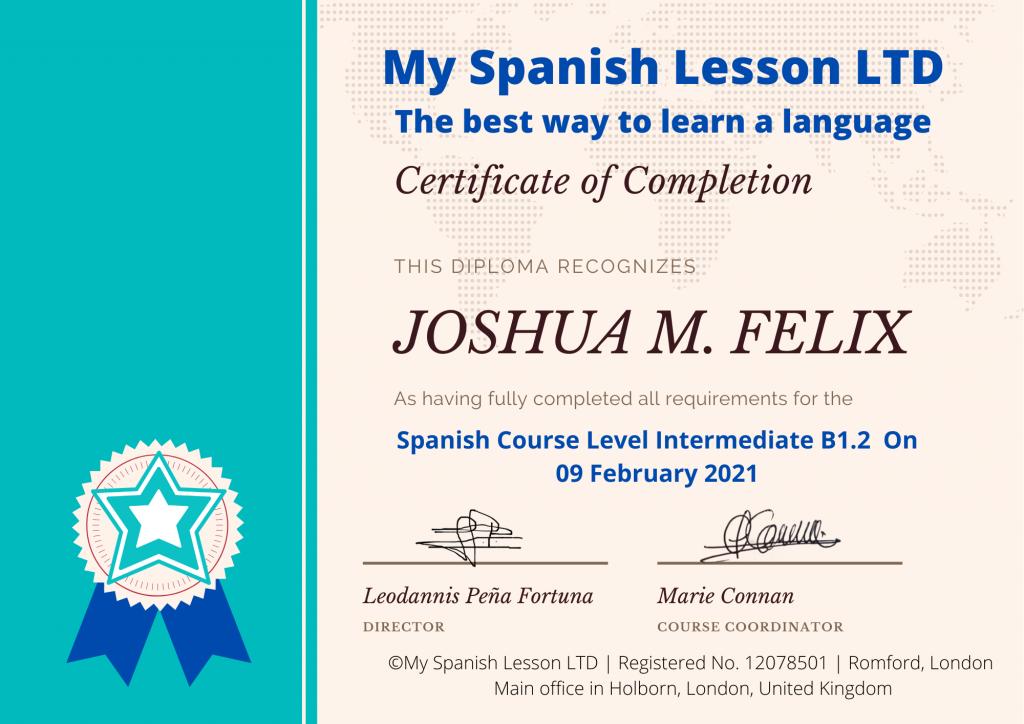 Certificate My Spanish Lesson LTD